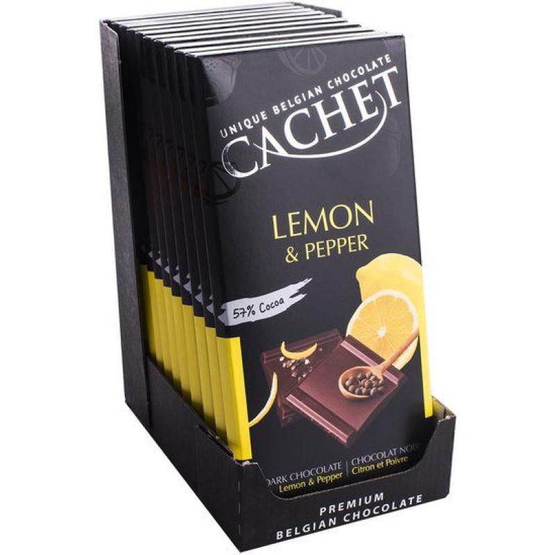 Cachet шоколад черный лимон-перец 57% (100 гр)