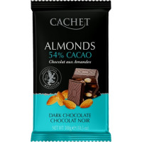 Cachet шоколад черный с миндалем 54% (300 гр)