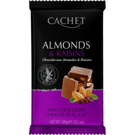 Cachet шоколад молочный с миндалем и изюмом 32% (300 гр)