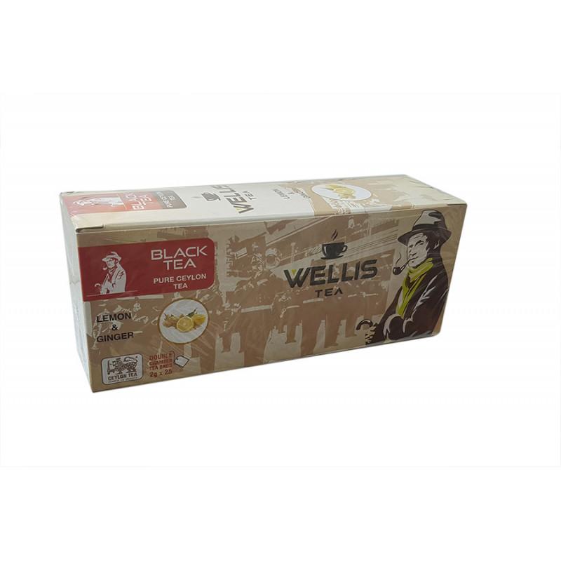 Чай черный Wellis lemon&ginger 2x25gr