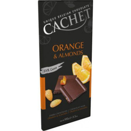 Cachet шоколад черный апельсин-миндаль 57% (100 гр)