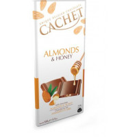 Cachet шоколад молочный миндаль мед 31% (100 гр)